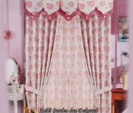 Gorden Motif Love terbaru warna pink bahan semi Blackout