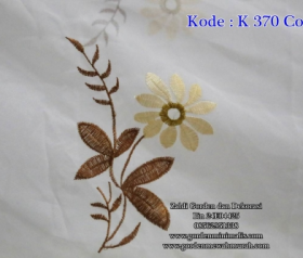 Vitrage dalaman gorden bordir import kode K370 Coklat