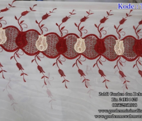 Vitrage Bordir import warna merah kode TM Merah